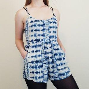 Billabong Blue Tie Dye Romper Medium